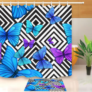 Bathroom Shower Curtain Blue Butterfly Black & White Geometric Waterproof Fabric