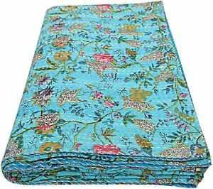 Indian Handmade Cotton Floral Print Sky Blue Kantha Quilt Coverlet 90x60 Inches