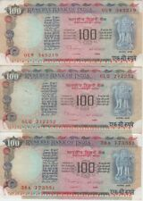 India Banknote P86f-g-h 100 Rupees Sig 87 no letter/A/B Lot of 3 Nice Circulated