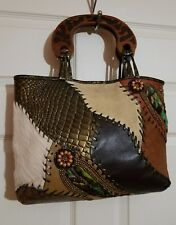 Saldarini Como Italy Leather & Fur Multi Color Animal Print Wood Handle Hand Bag