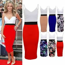Ladies Strappy Celeb Amanda Contrast Panel Women's Pencil Midi Bodycon Dress