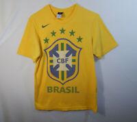 Brazil CBF International Soccer Football Short Sleeve T Shirt Nike Size MEDIUM