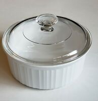 Corning Ware F-5-B French White 1.5QT / 1.6L Round Casserole Dish w/ Pyrex Lid