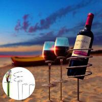3 Piece Steel Wine Bottle 2 Glass Holder Ground Stake Camping Garden BBQ Beach