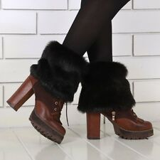 Ladies Winter Faux Fur Boot Shoes Cuffs Cover Toppers Socks Fluffy Leg Warmers