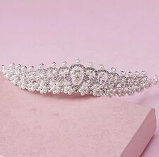 Wed Cream Pearl Flower Silver diamante Bride Crown Prom Party  Bridal Hair Tiara
