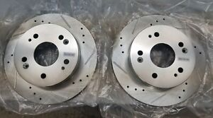 PowerStop JBR798X Honda Drilled & Slotted Rear Rotor Set Civic Prelude ILX Pair