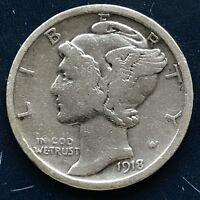 USA 1918 Mercury Dime Philadelphia 10 Cent Silber Selten Gute Erhaltung #10105