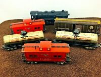 Marx Tin Litho Steam Engine and 5 Freight Train Cars Set Vintage Made USA A15