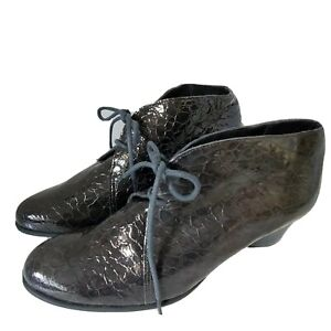 Arche Women boots ankle Bootie laces dark gray croco print patent leather 7 38