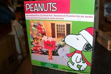 "PEANUTS SNOOPY MAIL BOX 36"" TALL PRE LIT CHRISTMAS YARD ART NIB"