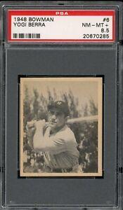 "Yogi Berra 1948 Bowman Rookie Yankees Card #6 PSA 8.5  ""High-End Centered *"