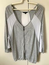 Portmans Chiffon Stretchy Zipper Coat SiZe L 12 Grey White Batwing 3/4 Sleeves