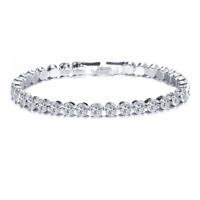 Elegant Women Full Crystal Cubic Zircon Silver Plated Bracelet Bangle Wristband