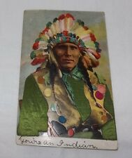 Vintage 1909 Native American Indian Chief Postcaard w/ Green Inlaid Fabric Shirt