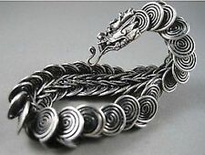 Chinese Tibet silver carved dragon Head Men bracelet