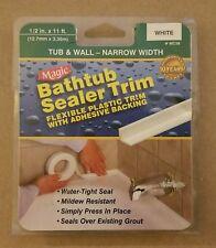Magic Bathtub Sealer Trim Flexible Adhesive Backing White 1/2 in x 11 ft NEW