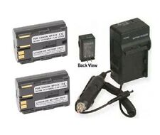 Two 2 Battery + Charger for Canon Optura Pi ZR10 ZR20 ZR25 ZR30 ZR40 ZR45 ZR50