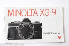 Minolta Xg-9 35mm Camera Manual Instruction Book - English - Used B17