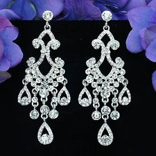Rhodium Plated Clear Crystal Rhinestone Wedding Drop Chandelier Dangle Earrings