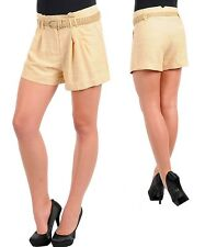 Womans JR SZ Hot pant career shorts belted pleated cuffe Drape  S M L  Cotton bl