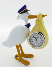 Miniature Novelty Stork carrying Baby Clock