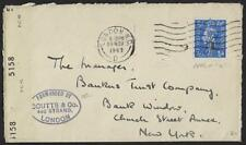 UK GB 1943 CENSORED COVER WITH PERFIN C COURIER SEAL COUTTS & CO LONDON TO NEW Y