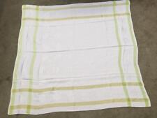 vintage tablecloth green white damask 50 x 50 floral mums design