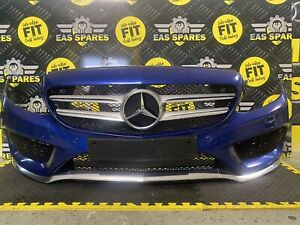 MERCEDES BENZ C-CLASS W205 COMPLETE AMG FRONT BUMPER IN BLUE