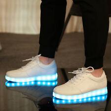 Unisex LED Light Lace Up Luminous Top Shoes Sneaker USB Kids Sportswear Colorful