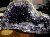 MUSEUM GD. AMETHYST CRYSTAL CATHEDRAL GEODE URUGUAY; CLUSTER AAA GRADE; CALCITE