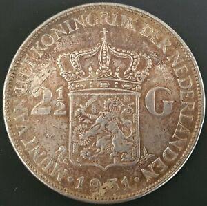 Netherlands: 1931 2½ Gulden Queen Wilhelmina Silver Coin