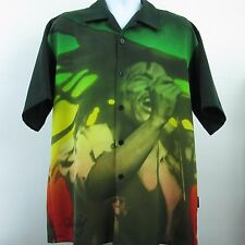 Bob Marley Clothing DragonFly Reggae Short Sleeve Button Front Shirt Size Large