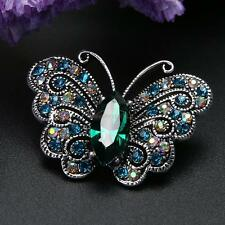 Women's Vintage Rhinestone Crystal Butterfly Wedding Bridal Bouquet Brooch Pin