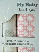 My Baby Boutique 2 Pack Muslin Swaddle Cloths Girls Floral 101 x 101cm New Box