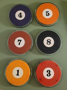 Protocol Glass Rubber Pool Balls Coaster Set 6 Case Billiards Man Cave Bar