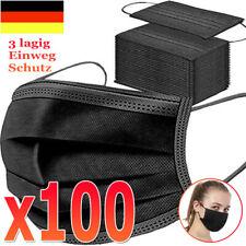 100 Stück Schwarze 3 lagig Gesichtsmasken Schutz atmungsaktiv Staubmaske Shield