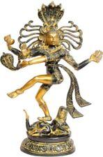 "God Shiva as Nataraja King Dancing Jai Hindu Statue 17.5"" Brass Figure Art 5.2KG"