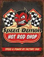 Speed Demon Hot Rod Shop Vintage Retro Tin Metal Sign 13 x 16in