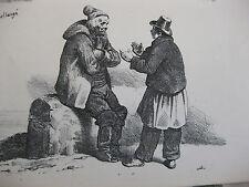 Lithographie ancienne originale Bellangé costumes romantisme soldats mendiant