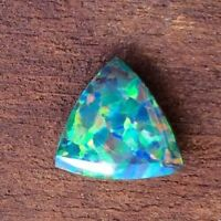 TRILLION CUT SYNTHETIC DOUBLET OPAL 6x6MM WITH NATURAL BOULDER OPAL BACKING AAA+