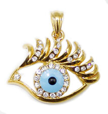 18K Real Gold Filled Cubic Zircon Women's Evil Eye Pendant - FREE Necklace