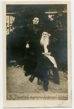 Russian Writer  Leo Tolstoy and his Daughter Vintage Photo Postcard