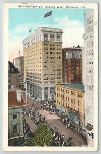 OR Oregon Portland Morrison Street West 1923  Vintage Postcard $B