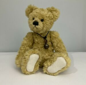 Jointed Bear By Charlie Bears Ltd With Bell Necklace Honey Colour  14 Inches A2