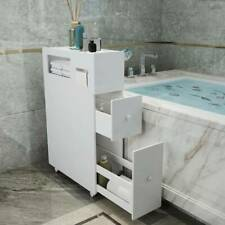 Bathroom Slim Floor Cabinet Narrow Wooden Storage Cupboard Toilet with Drawers