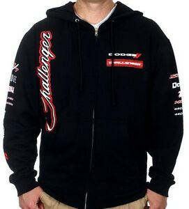 Men's Dodge Challenger Zip Hoodie Sweatshirt Collage Logos NEW SALE