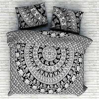 Indien Bohème Éléphant Mandala Couverture Doona Coton Couette Avec Taie Oreiller
