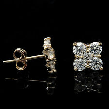 1.00TCW Brilliant Created Diamond Cluster Earrings 14K Yellow Gold Square Studs