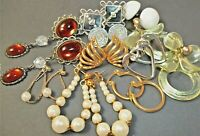 Lot 10 Vintage Pierced Earrings Monet Gold Tone Dangle Flippy Plastic Southwest